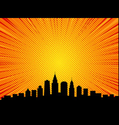Big city comic book style background vector