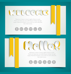 Salutatory cards in paper style vector
