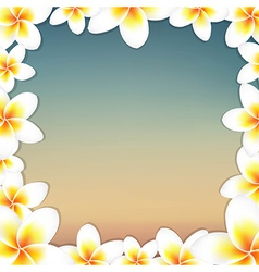 White frangipani and vintage frame vector