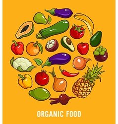 Set of organic food vector
