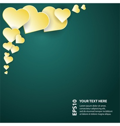 Yellow abstract hearts on dark background vector