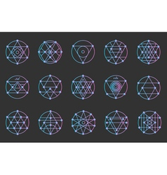 Set of geometric color hipster shapes4c1 vector