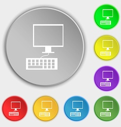 Computer monitor and keyboard icon symbols on vector
