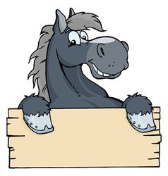 cartoon horse label vector image
