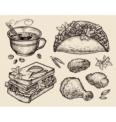 Fast food hand drawn coffee cup tacos sandwich vector