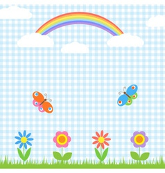 Flowers butterflies and rainbow vector image