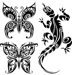 Tattoo drawings of butterflies and lizard vector