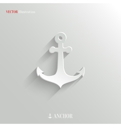 Anchor icon - white app button vector image