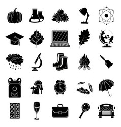 autumn school icon set black and white style vector image
