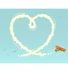 Biplane with heart shape vector image vector image