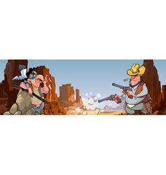 Cartoon injun with a gun and a cowboy vector