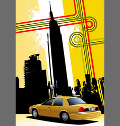 Cover for brochure with new york and taxi cab vector