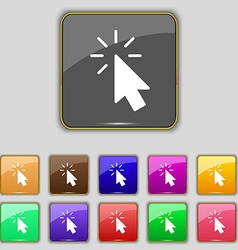 Cursor icon sign Set with eleven colored buttons vector image vector image