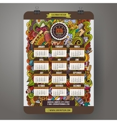 Doodles cartoon art calendar 2016 year vector