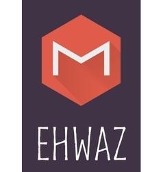 Ehwaz rune of elder futhark in trend flat style vector
