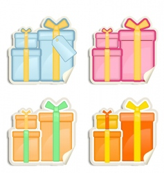 gift box stickers vector image vector image