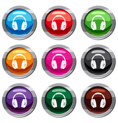 headphones set 9 collection vector image vector image