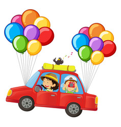 kids in car with colorful balloons attached vector image