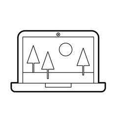 Laptop with landscape icon vector