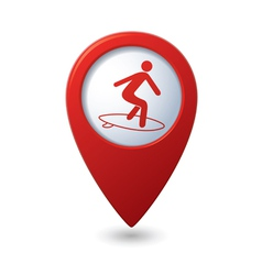 Map pointer with man on surf icon vector image vector image