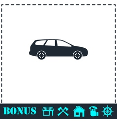 Passenger car icon flat vector