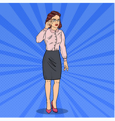 Pop art confused business woman vector