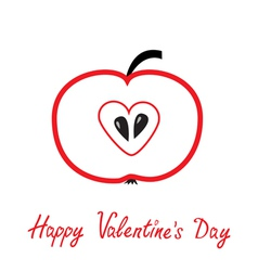 Red apple with heart shape Happy Valentines Day vector image vector image