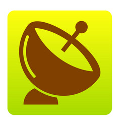 Satellite dish sign brown icon at green vector