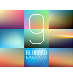 Set of 9 abstract blurred background vector