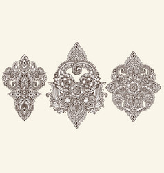 Set of henna floral elements vector