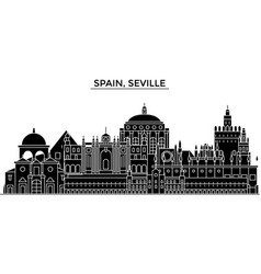 Spain seville architecture city skyline vector