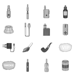Vape icons set black monochrome style vector