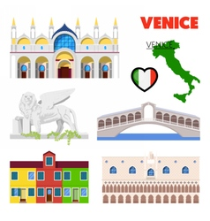 Venice italy travel doodle with architecture vector