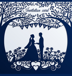 wedding invitation card with silhouette bride and vector image