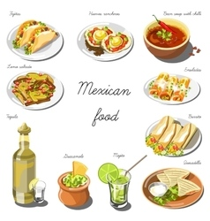 Mexican cuisine set collection of food dishes vector