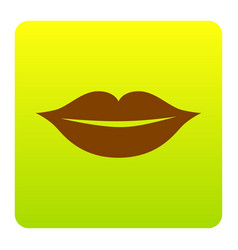 Lips sign   brown icon at vector