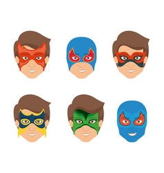 White background set face super hero men with mask vector