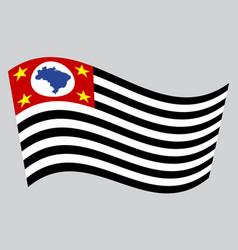 sao paulo brazil state flag wavy gray background vector image