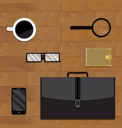 Business accessories on desktop vector