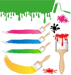 Set of paint brush on white background vector