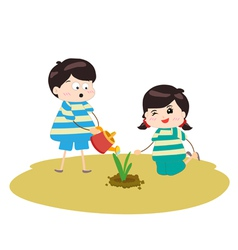 Two happy kids watering and planting plants vector