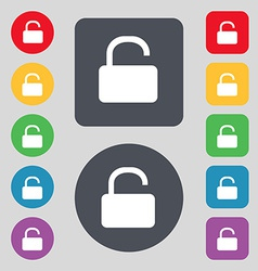 Open Padlock icon sign A set of 12 colored buttons vector image