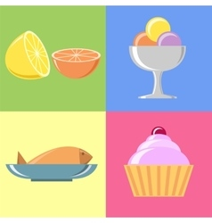 Flat food and icons set vector