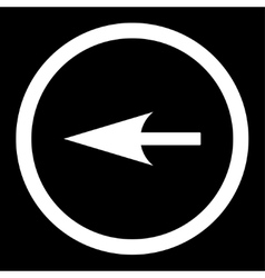 Sharp left arrow flat white color rounded vector