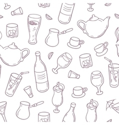 Seamless pattern with outline style drinks in vector