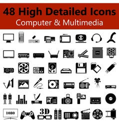 Computer and multimedia smooth icons vector