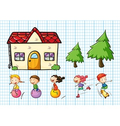 Children playing and house set vector