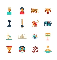 Flat design india travel icons infographics vector