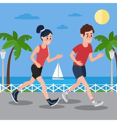 Man and woman running on the seaside promenade vector