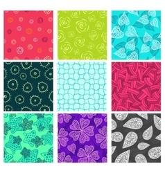 Seamless doodle patterns set vector image